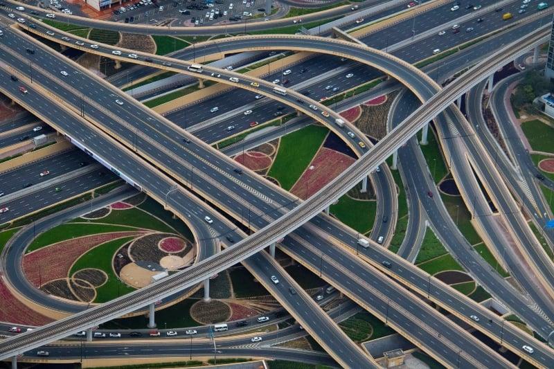 Roads from the Burj Khalifa